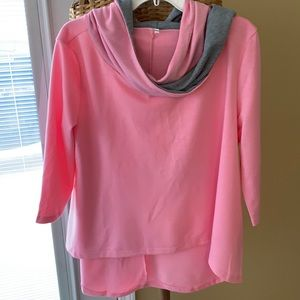 Local Boutique pink/gray oversized hooded XL top